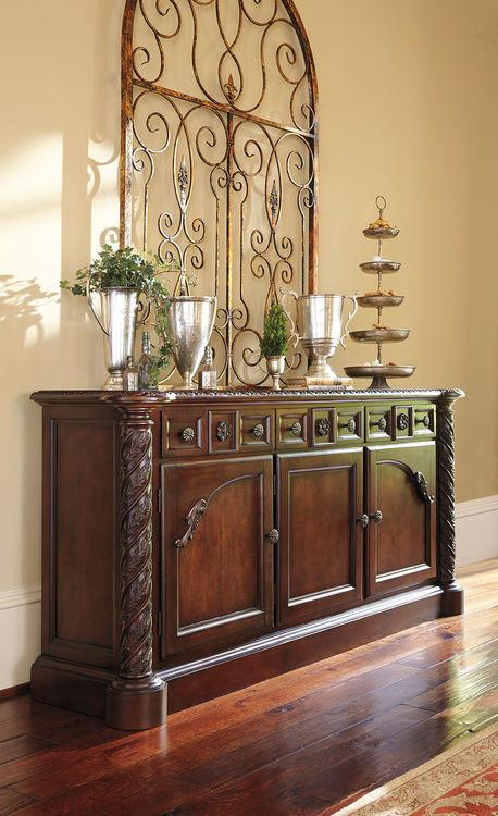 Ashley North Shore Dark Brown Dining Room Buffet images