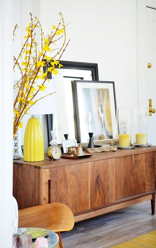 Vintage Sideboard With Yellow Decoration