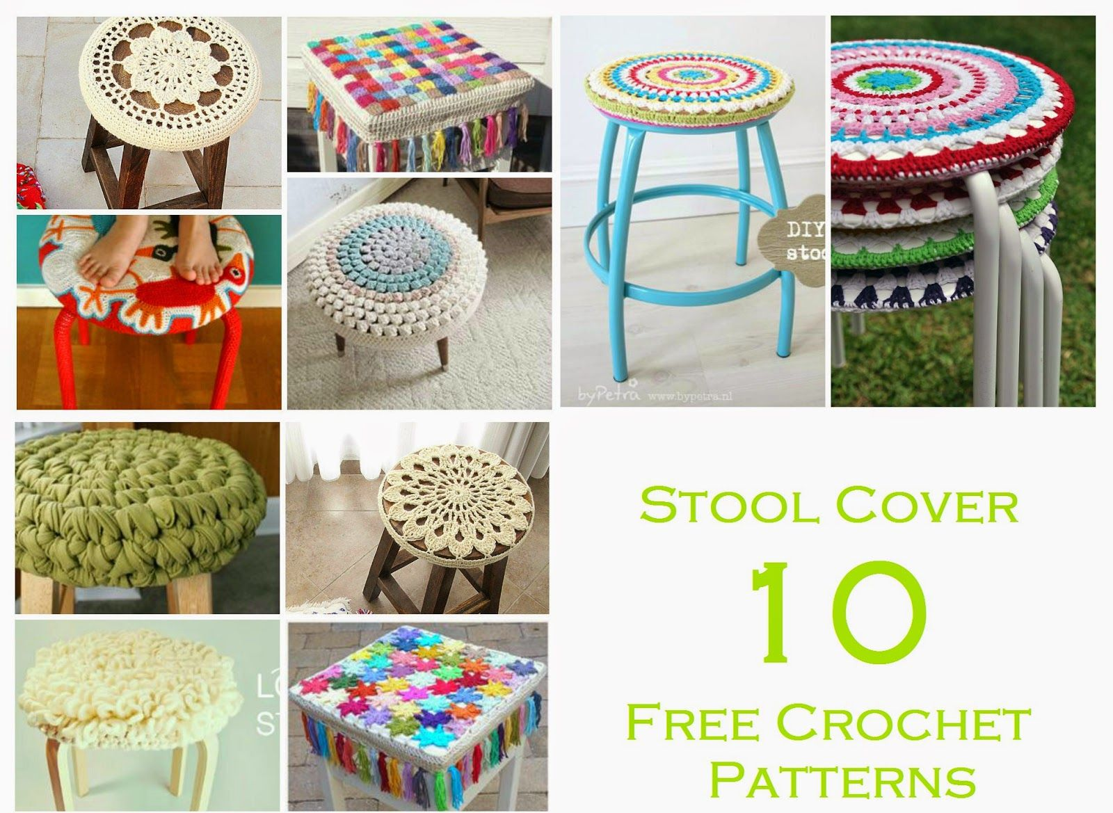 Stool Cover ~ 10 Free Crochet Patterns (Happiness Crafty)