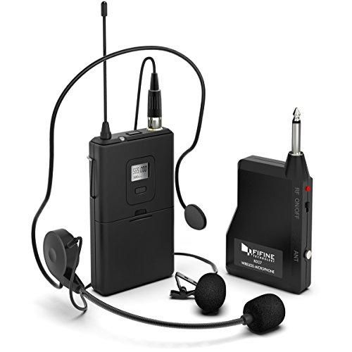 Wireless Microphone set with Headset & Lavalier Lapel Mics(K037B)