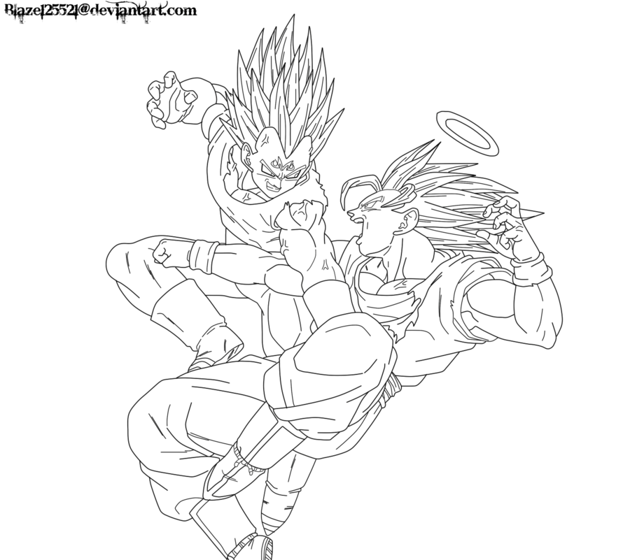 Goku Vs Majin Vegeta Lineart By Jamalc157 Dragon Ball Art Dbz