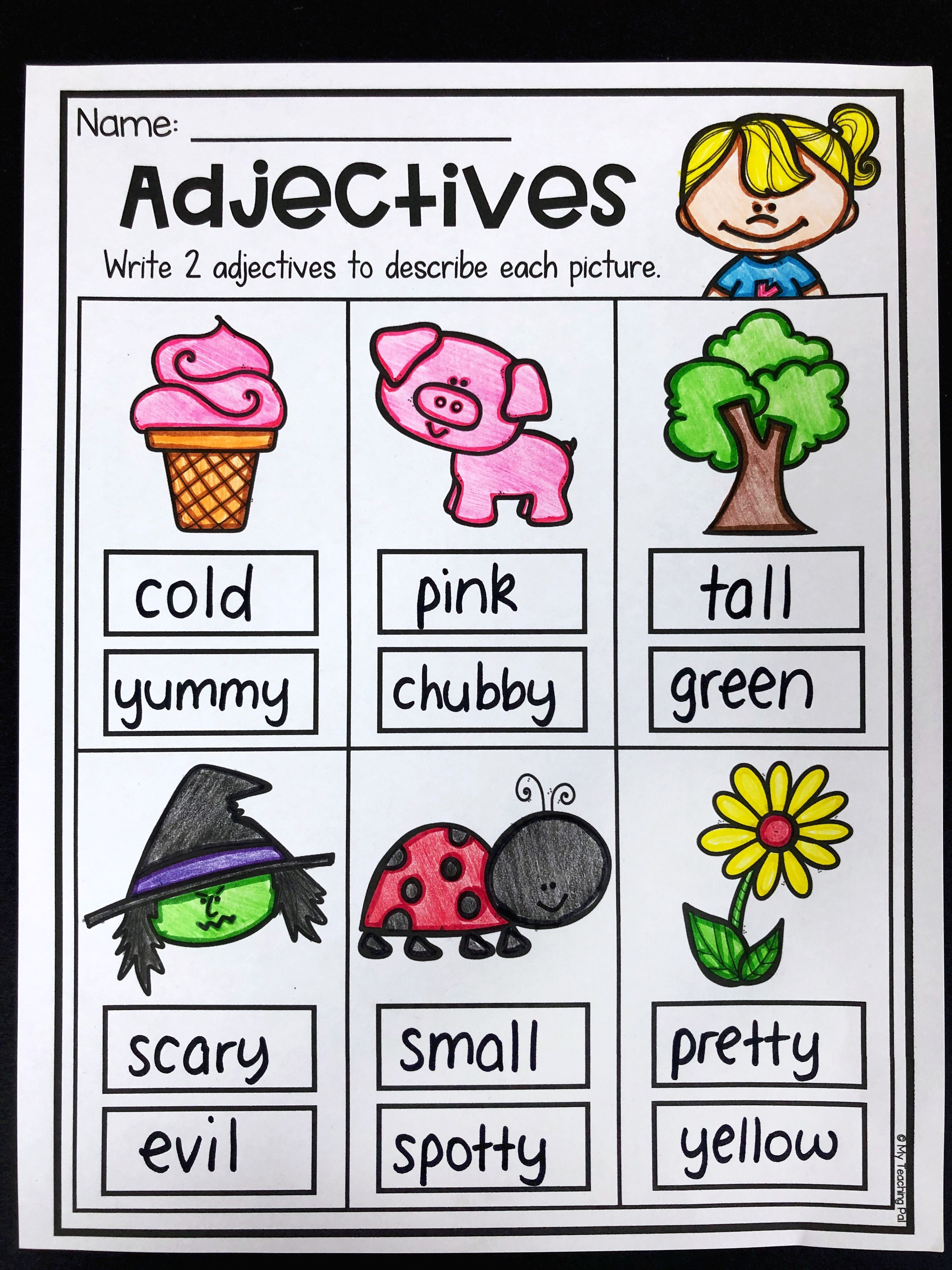 medium resolution of Adjectives worksheet for kindergarten and first grade. Students write two  adjectives to describe eac…   Adjectives activities