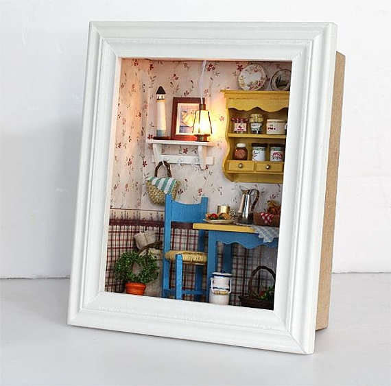 DIY Dollhouse of Leisurely Lunch With LED Lamps,Kids Assembly Toy
