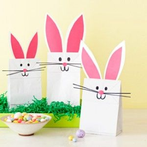 Mase and i found some bunny bags for his class titeres easter bunny bags for the easter egg hunte with an open white paper bag the kids can create the ears with pink paper and draw on the features negle Choice Image