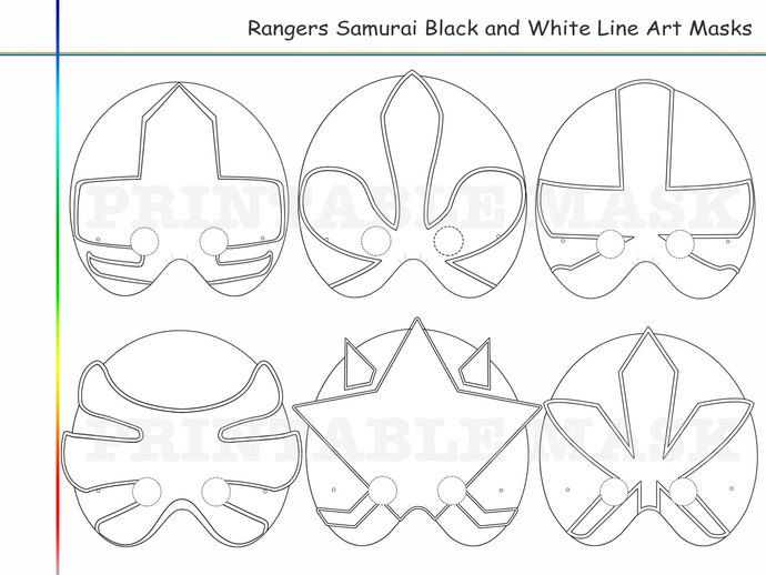 Coloring Pages Rangers Samurai Party Printable Black And