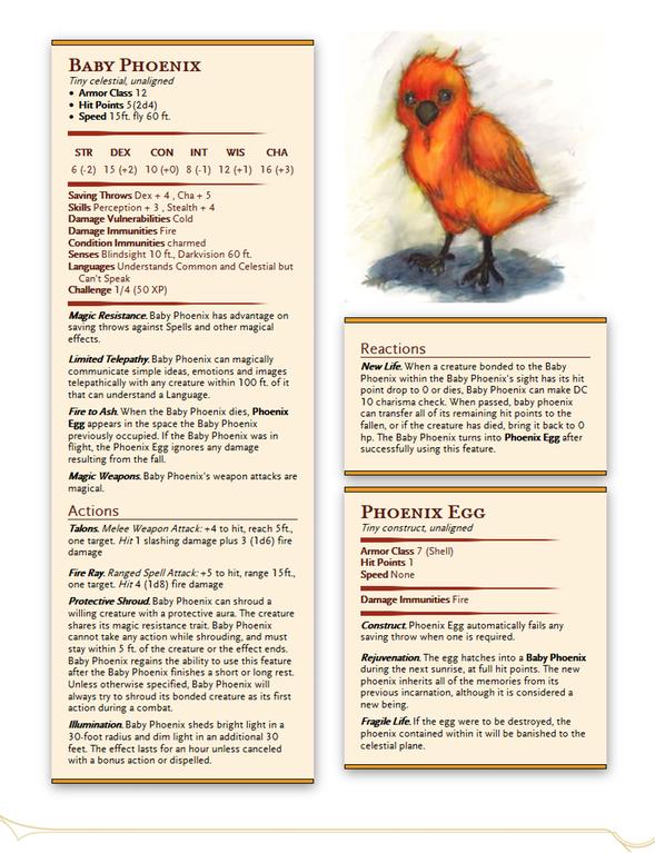 New Familiar Option - Baby Phoenix : UnearthedArcana | DND
