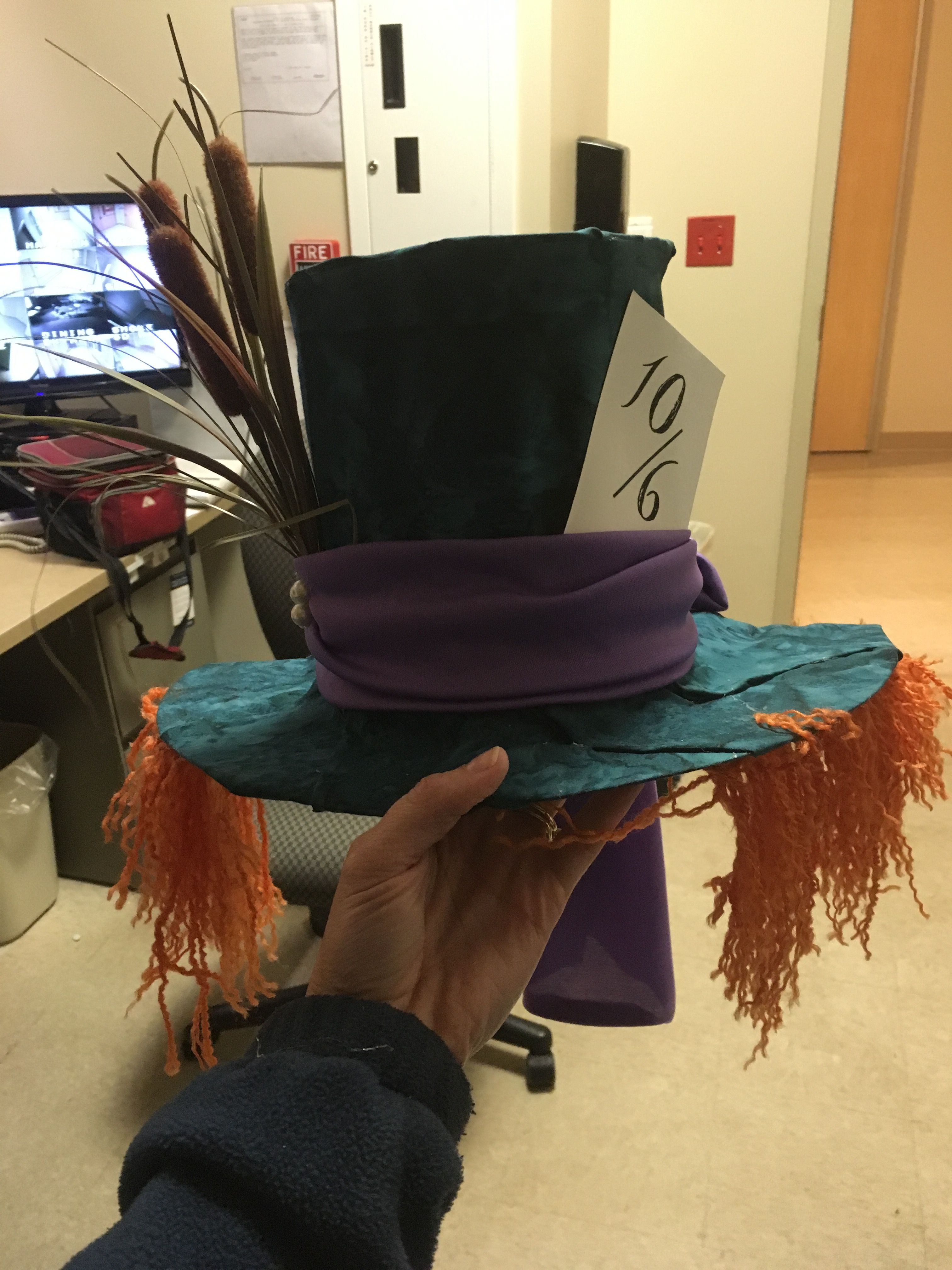 Mad Hatter Hat Made Out Of Two Hospital Urine Specimen Collection Hats Crazy Hat Day Mad Hatter Hat Hat Making