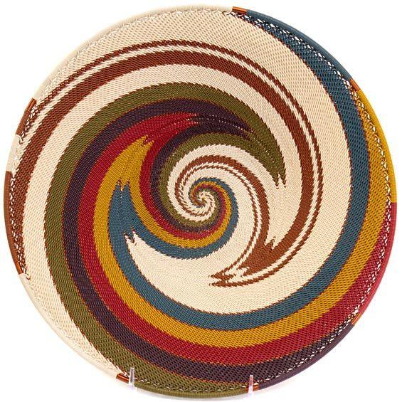 African Basket - Zulu Wire - Shallow Bowl #37248