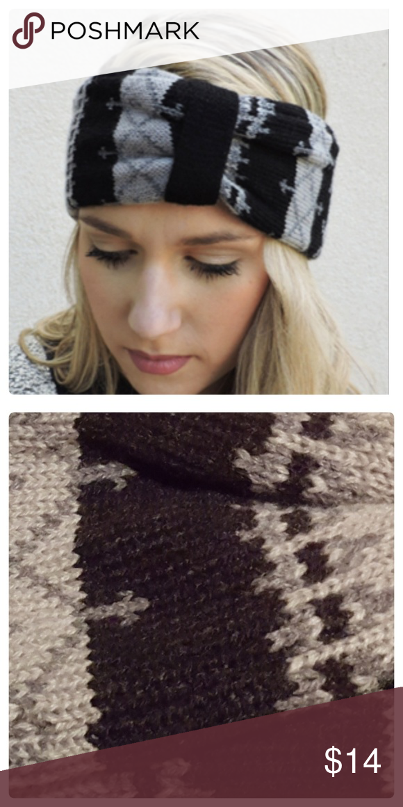JUST IN: Gray Fair Isle Sweater Headband Boutique