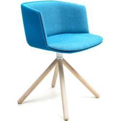 Lapalma Cut Sessel Sitzschale weiß Kreuzfuß Holz Esche natur Stoff Gabriel Swing (Wunschfarbe im Bem