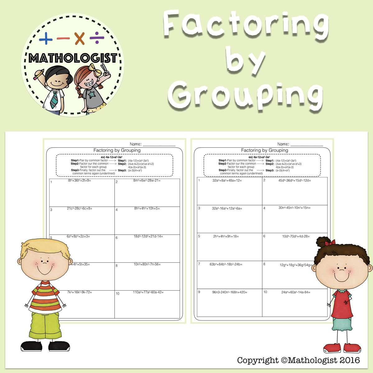 Factoring By Grouping Algebra Math Algebra Factors Math