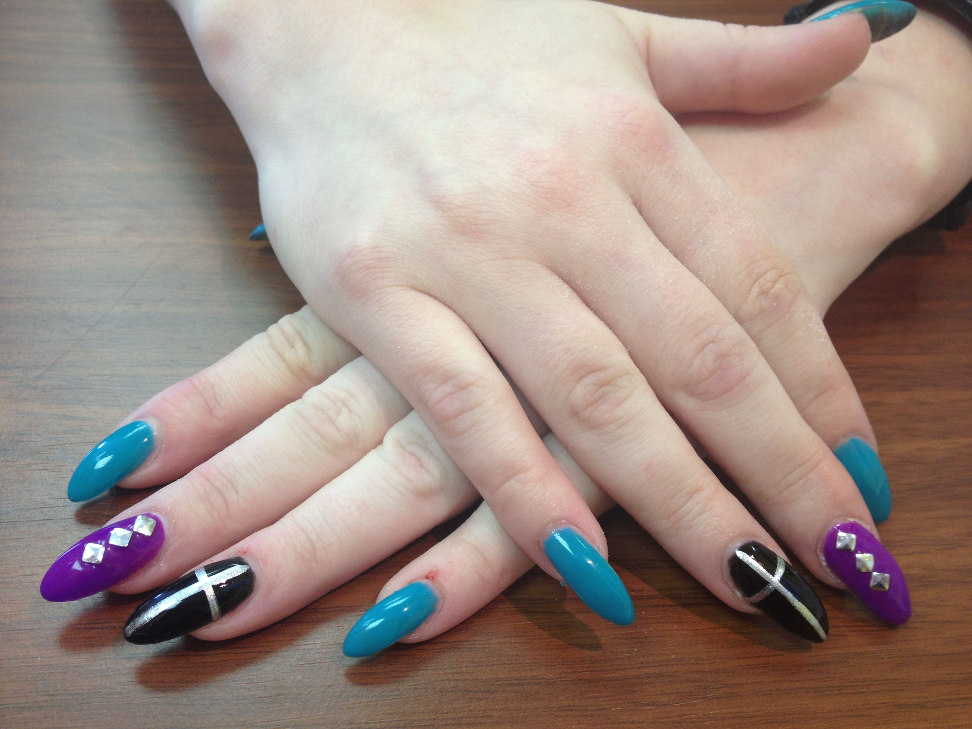 Long pointed Nails, with some of the new Gelish Colors!!