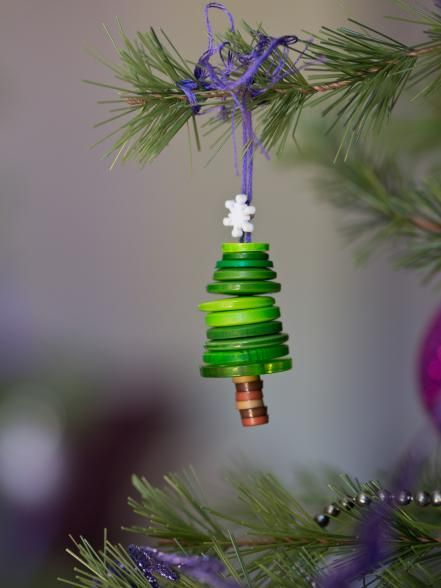 24 DIY Ornaments You Can Make in Less Than One Hour Button tree
