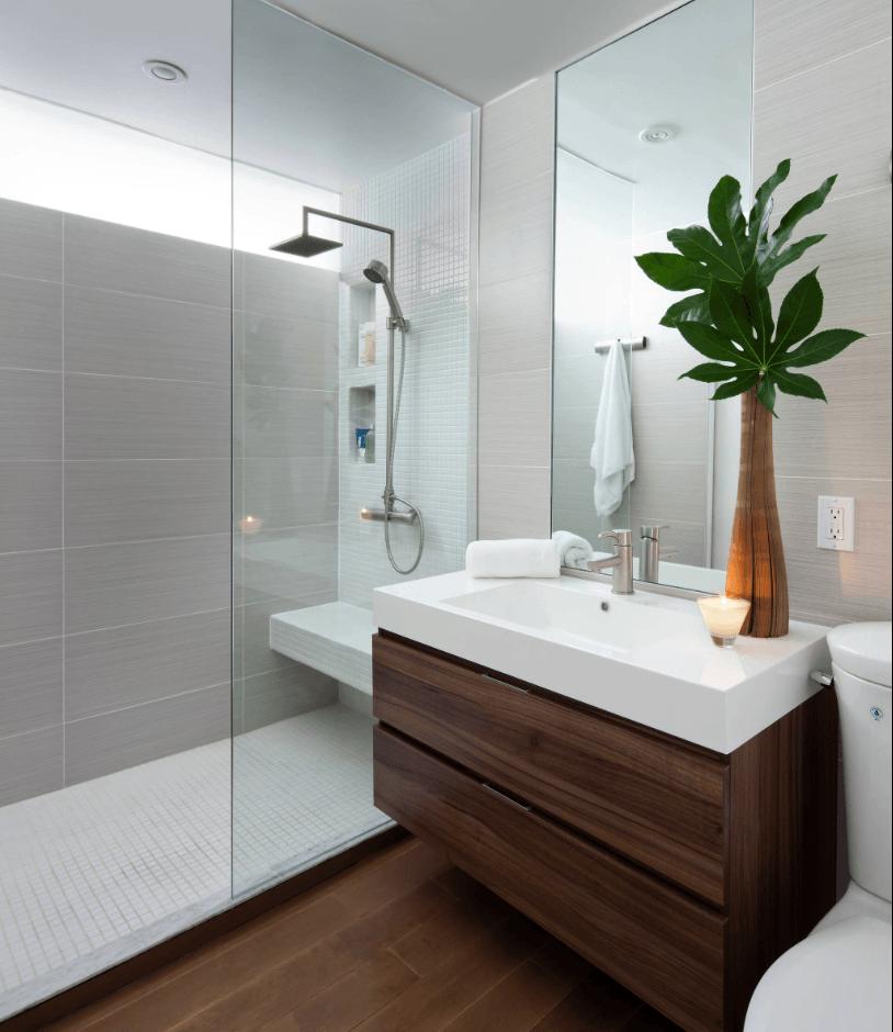 #474547 Confira mais de 65 fotos de banheiros modernos veja o que é tendência na decoração de banheiros  814x940 px banheiros modernos pequenos simples