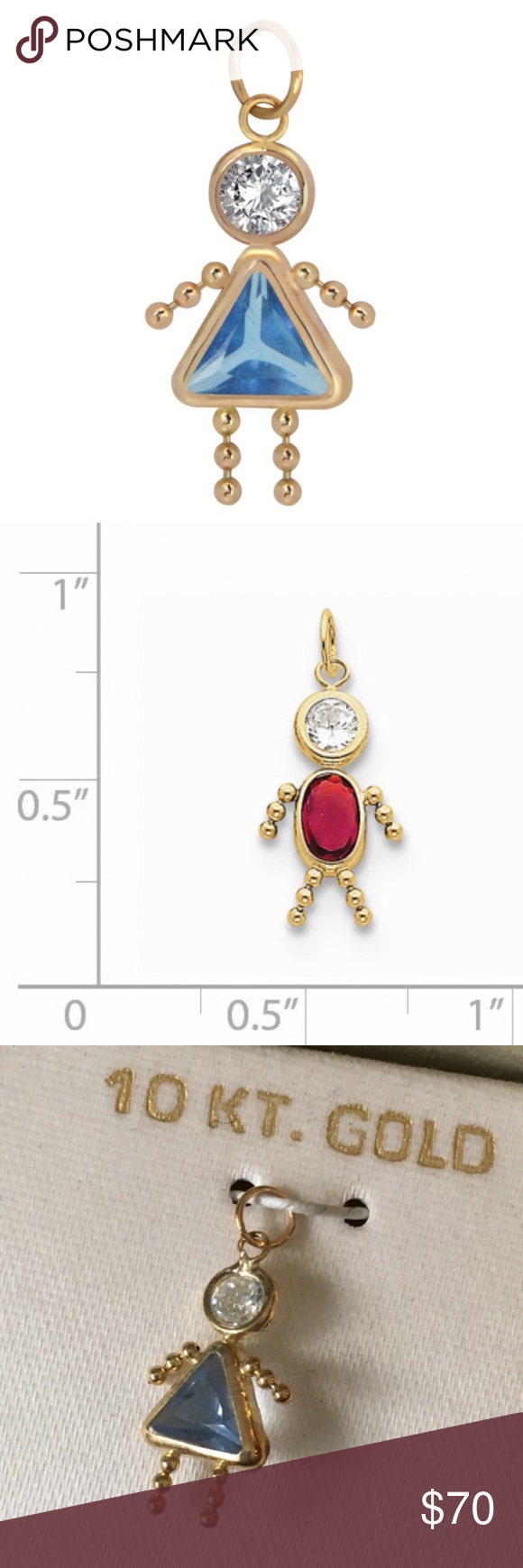 Birthstone Babies Girl Charm March 10k Gold New Brand Unbranded Material 10k Gold Measures About 75 Long Pendant Measures Abo My Posh Picks Fashi