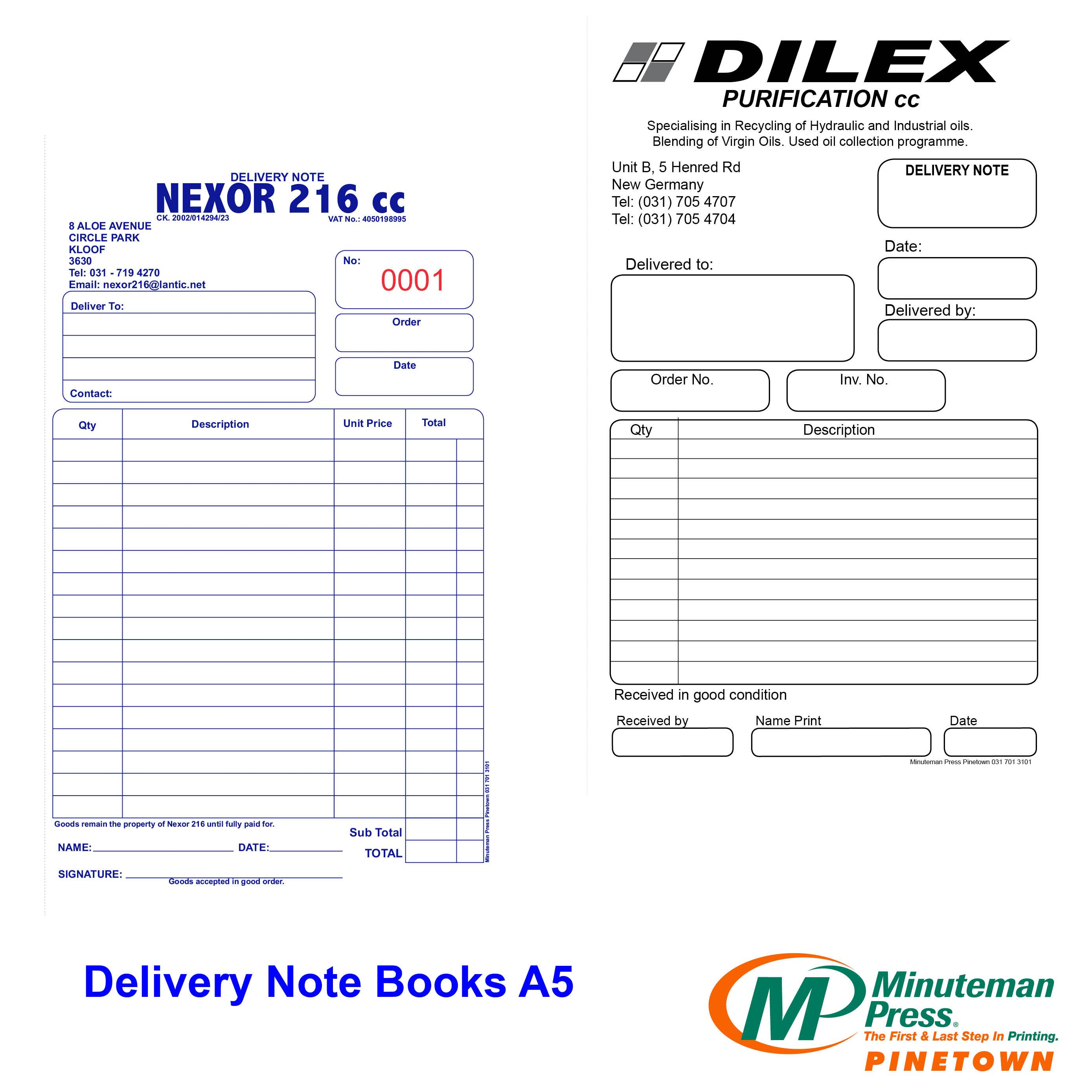 Forms Design Business Delivery Note Books Form