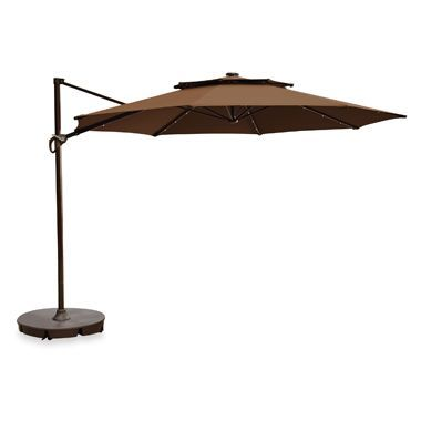 11 Foot Round Solar Cantilever Umbrella In Latte Solar Umbrella Patio Umbrella Bases Patio Umbrellas