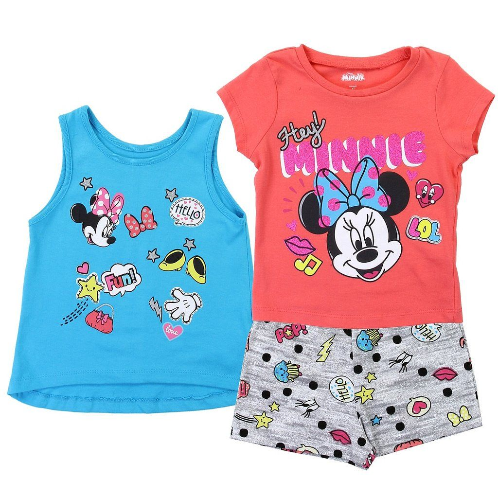 Tank and Shorts Set Minnie Mouse Disney Little Girls 3 Piece Tee