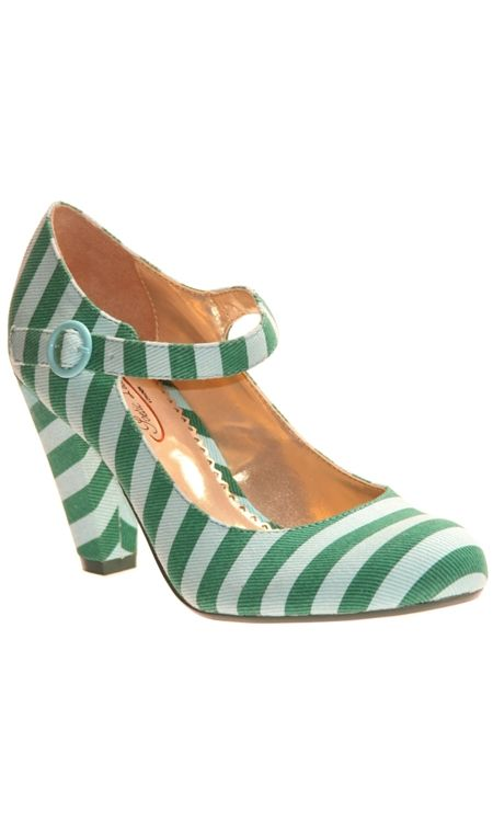 OMG! Green stripey mary-jane style heels. I want these so much. Someone make an outfit for me so I can have an excuse to buy them. (Shabby Apple)