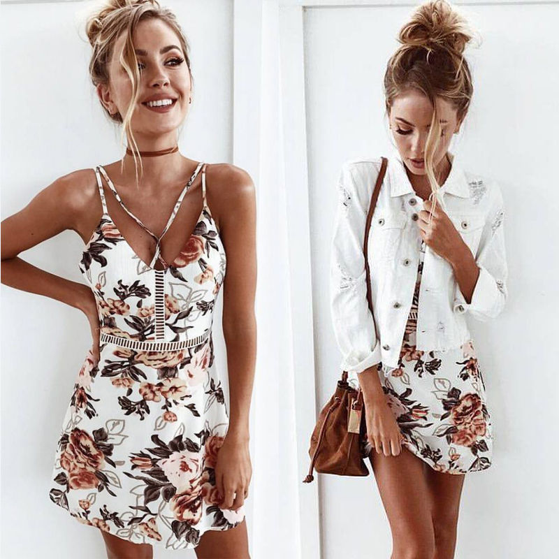 944f4e053d001 Details about Women Summer Sleeveless Floral Evening Party Cocktail ...