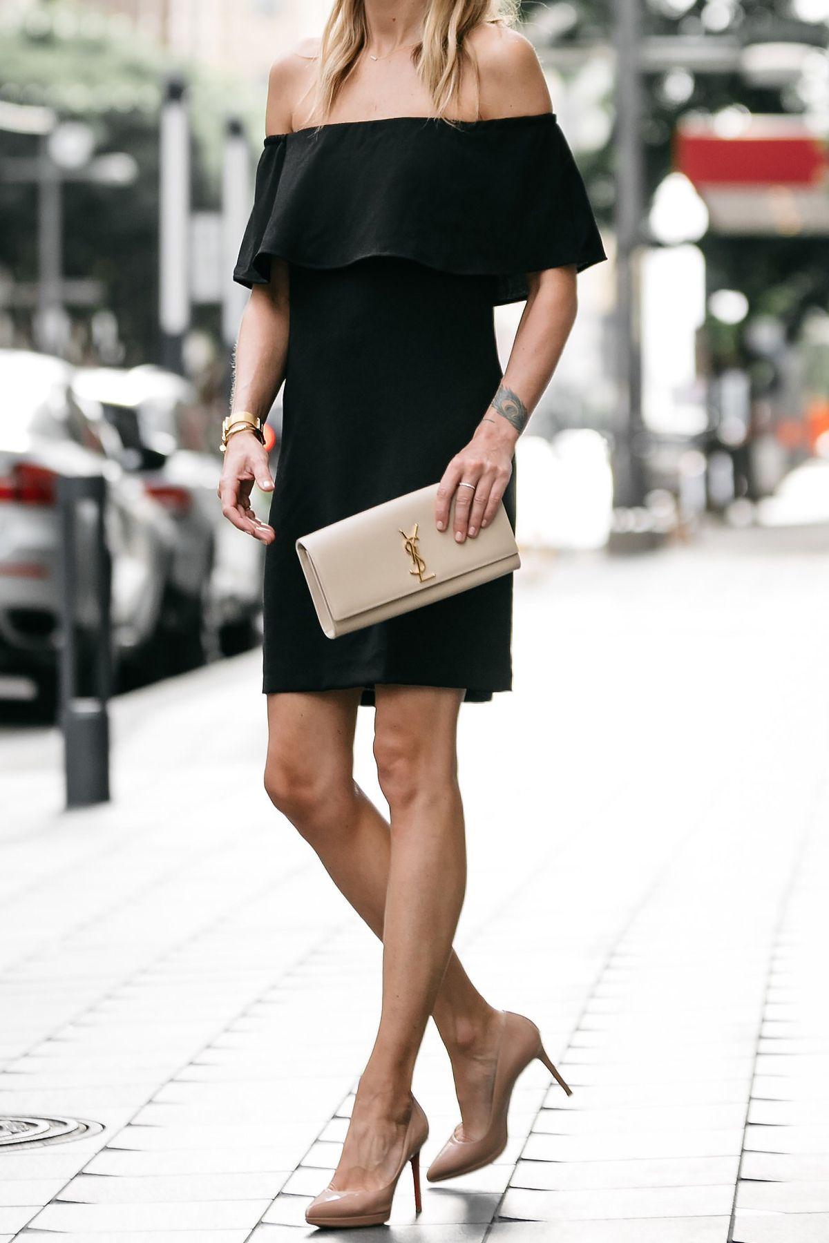 Nordstrom Off The Shoulder Black Dress Ysl Nude Clutch -8230