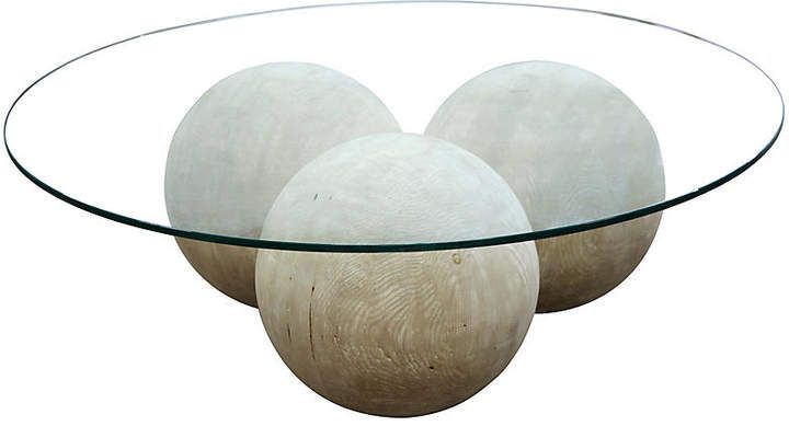 Reclaimed Allium Coffee Table  Unfinished  CFC is part of Cool Home Accessories Coffee Tables - Designed to make a statement, this modern coffee table balances a clear glass top above a cluster of spherical pedestals  And because it's crafted from reclaimed Douglas fir, it's both stylish and sustainable