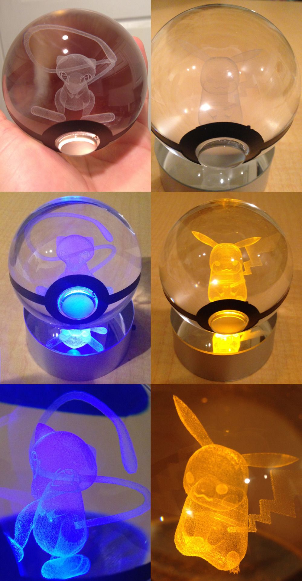 Led pokeball with pokemon inside light up your room the