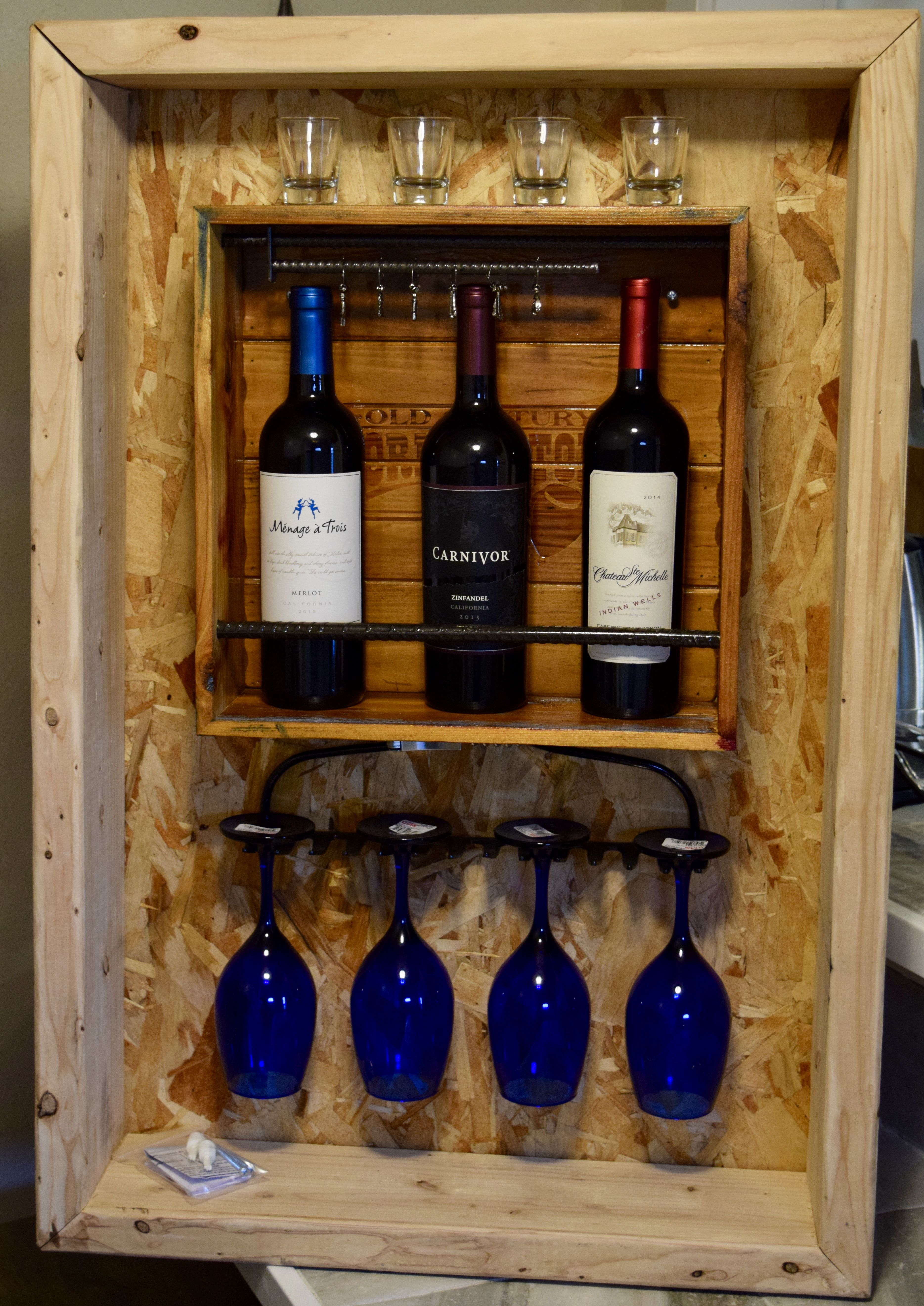 Recycled Cedar Board Wine Rack in its display case.... | Crafted ...