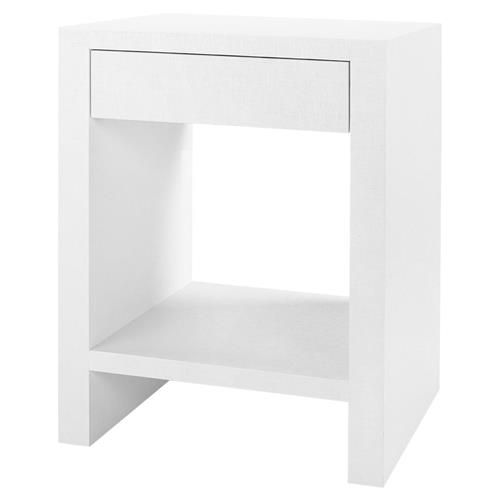 Coralee Coastal White Lacquer Grass Cloth End Table End Tables