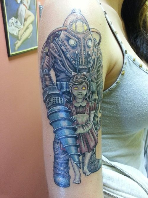 Done by pup at all american subject delta and for Bioshock wrist tattoo