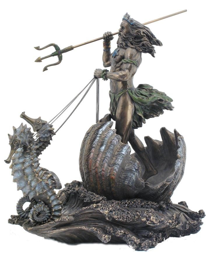 Poseidon Riding Hippocampus with Trident Statue