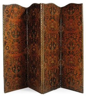 A LATE VICTORIAN EMBOSSED PARCEL-GILT LEATHER SCREEN