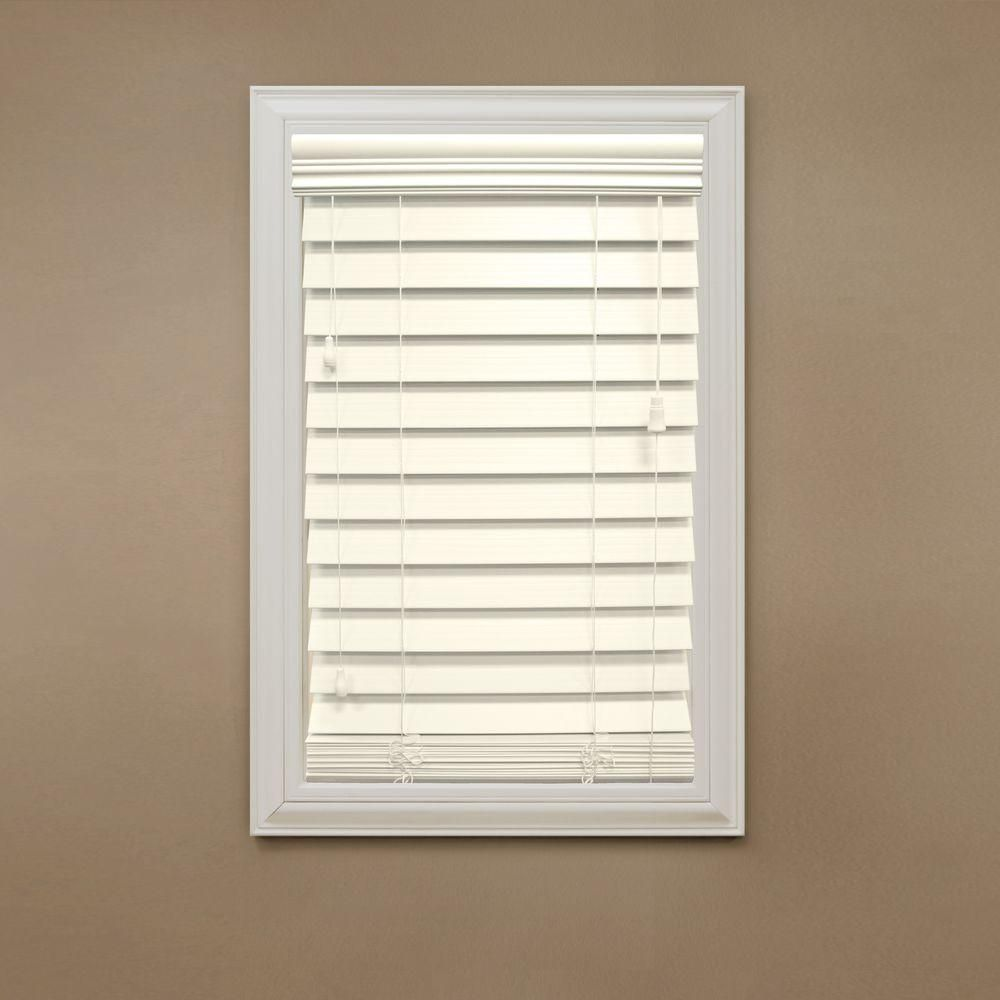 Home Decorators Collection Ivory 2-1/2 in. Premium Faux Wood Blind ...