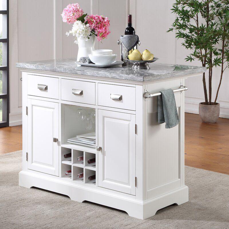 Arantza Kitchen Island With Marble Top In 2021 Marble Top Kitchen Island Kitchen Island Dimensions Kitchen Cart