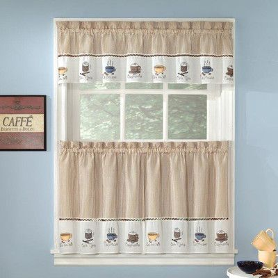 Sweet Home Collection Embroidered Coffee Kitchen 56 Curtain Valance Coffee Theme Kitchen Curtain Decor Kitchen Curtains