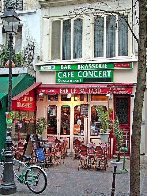 Rita Crane Photography: France / Paris / Bistro / Cafe / Restaurant / Bicycle / Lampost / Historic Cafe / brasserie / red / Bar le Baltard, Marais District, Paris