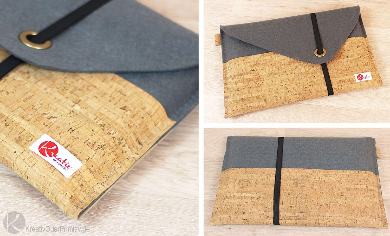 Notebook Tasche Laptop selber nähen Filz Kork SnapPap Leder DIY ...