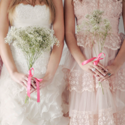 If you like pink you'll LOVE this vintage, snowy, ruffly, pink, baby's breath & fairy light filled inspiration shoot!