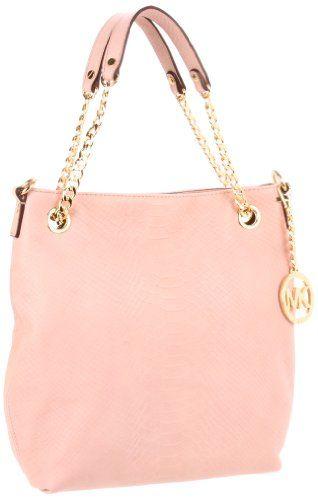 c5008f418ea2 Amazon.com  Michael Kors Blush Python Embossed Leather Jet Set MD Chain  Tote Shoulder Bag Handbag Purse