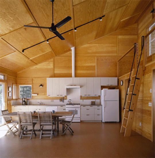 Hood Canal Cabin- Stained Plywood Paneling