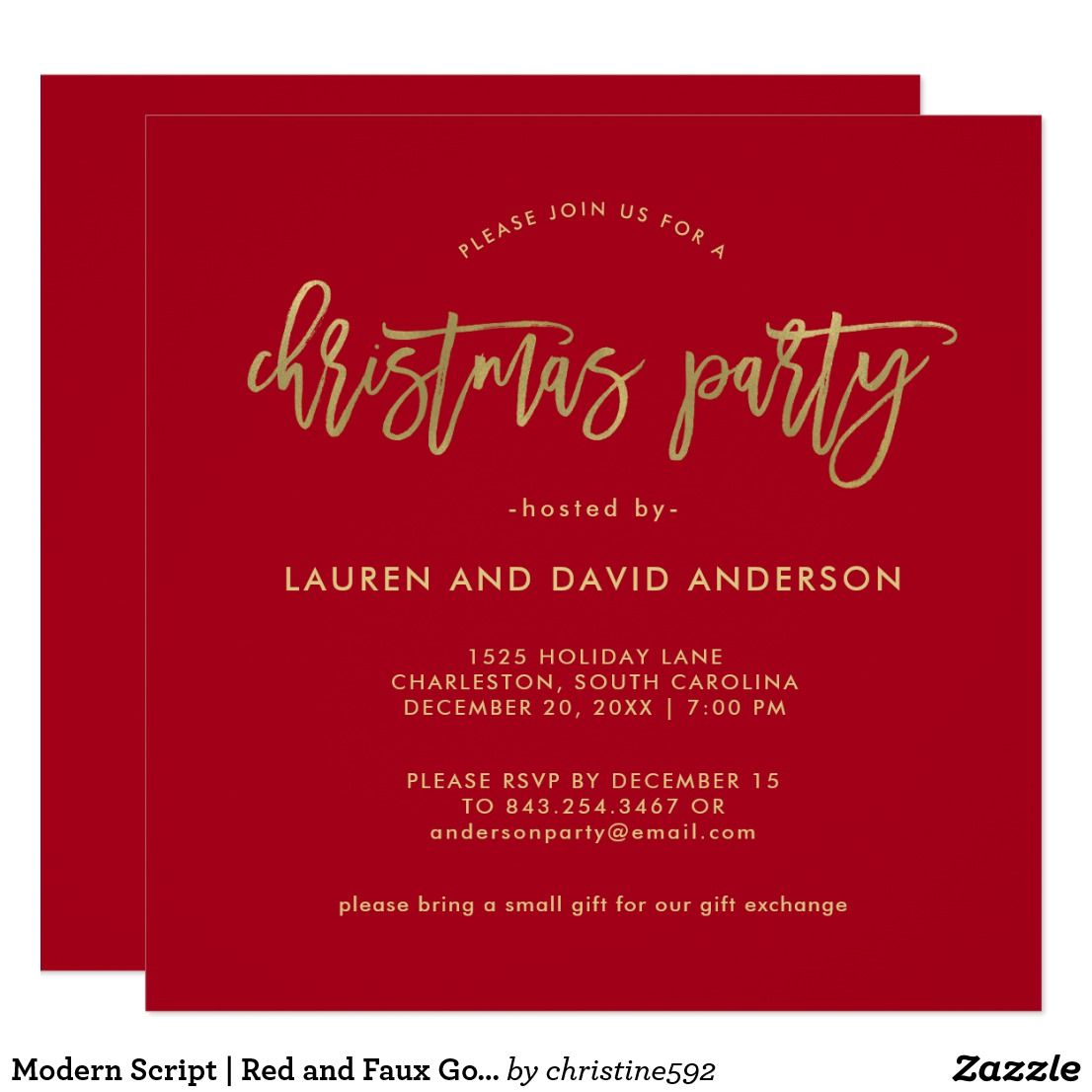 Modern Script Red And Faux Gold Christmas Party Card Invitations