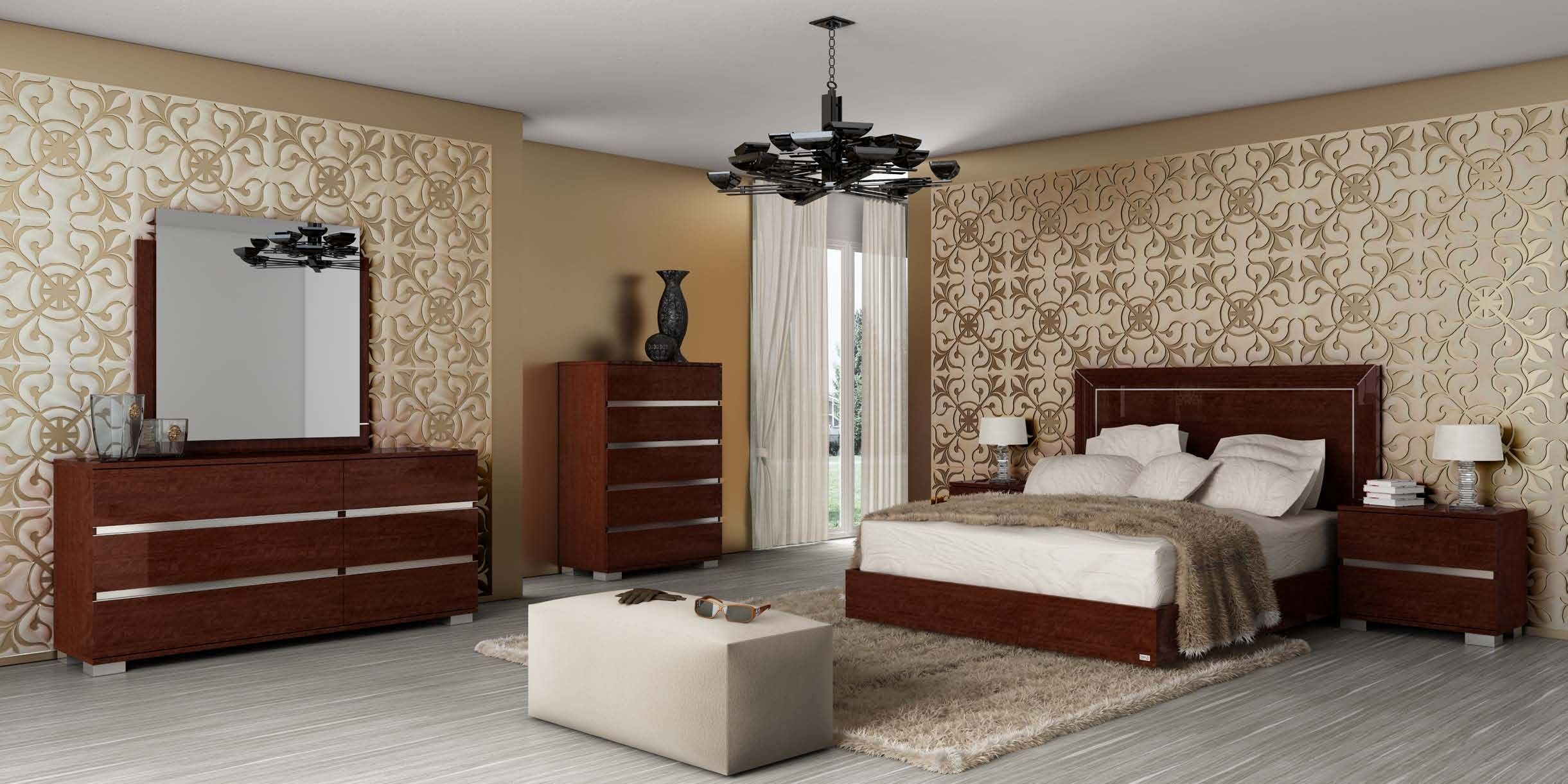 Live Platform Bedroom Set in Walnut Lacquer by Status