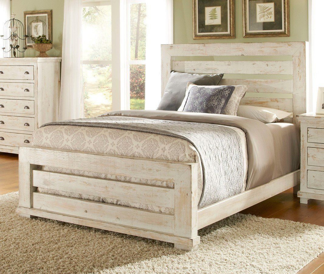 Willow Slat Bed Distressed White White Bedroom Set Bedroom