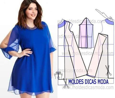 Cortos Vestido Vestidos Evase Sewing Sewing Abierta Manga Con 877ZqAX