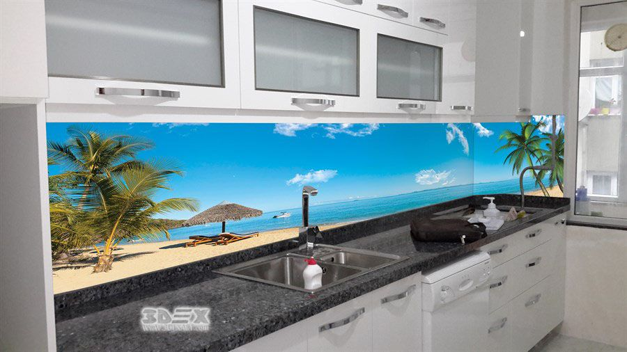 3d Kitchen Backsplash Mural On Glass Panel 3d Backsplash Designs
