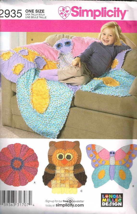 Rag Quilt With An Owl Butterfly Or Flower Simplicity 2935 Sewing Pattern By Peoplepackages Rag Quilt Patterns Crafts Sewing Patterns Rag Quilt