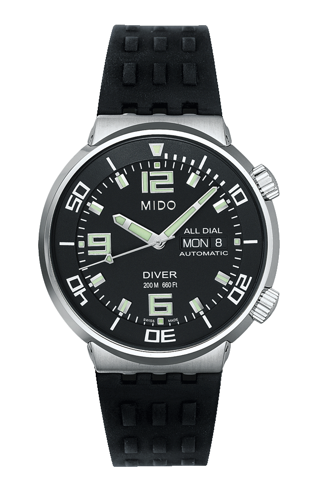 aa75ff059e5 Mido Men s All Dial with a black face and a black rubber band style     M8370.4.58.9 www.midowatch.com