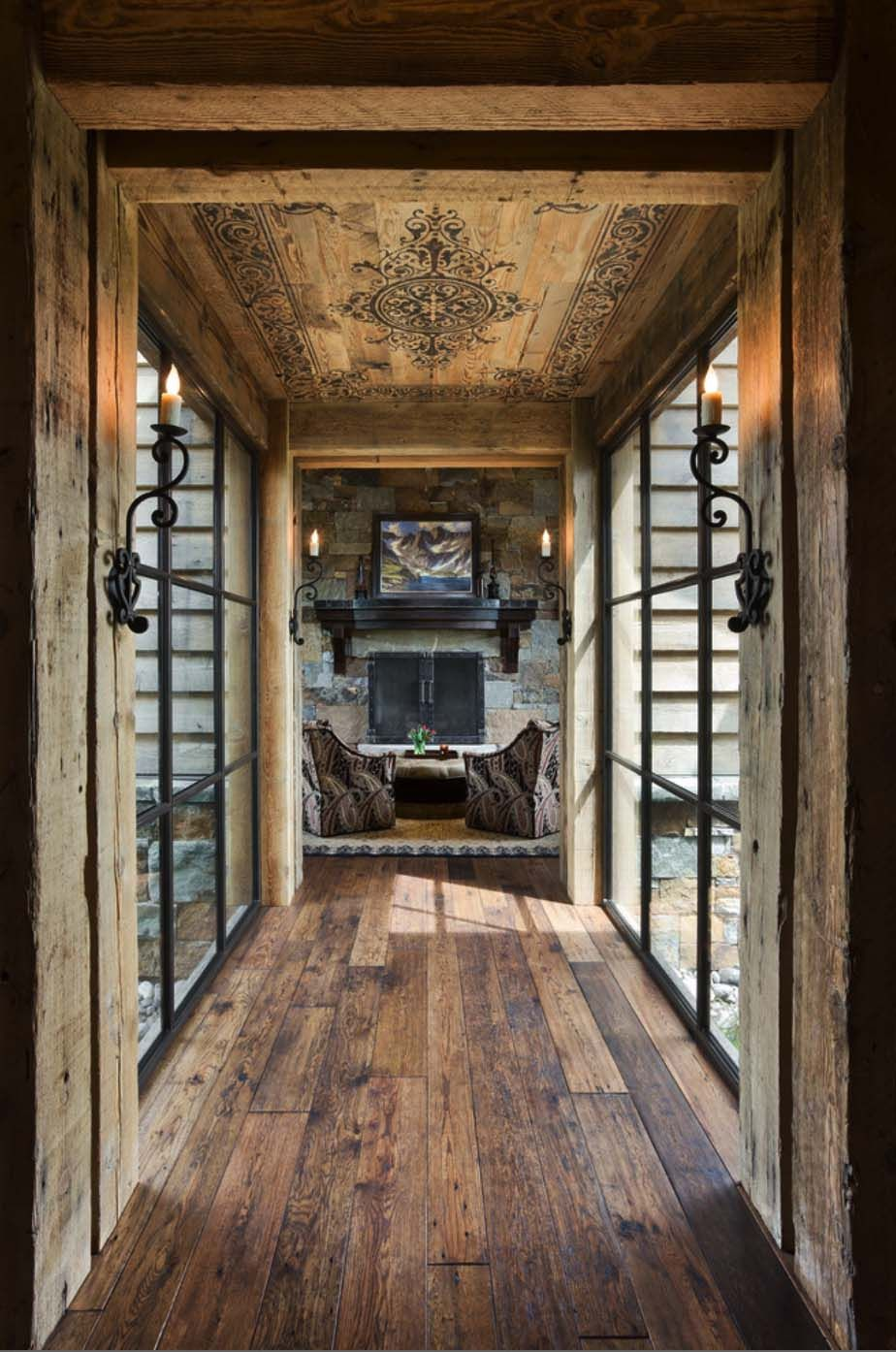 Rustic Yet Refined Mountain Home Surrounded By Montana S Wilderness Rustic Home Design Rustic Hallway Hallway Designs