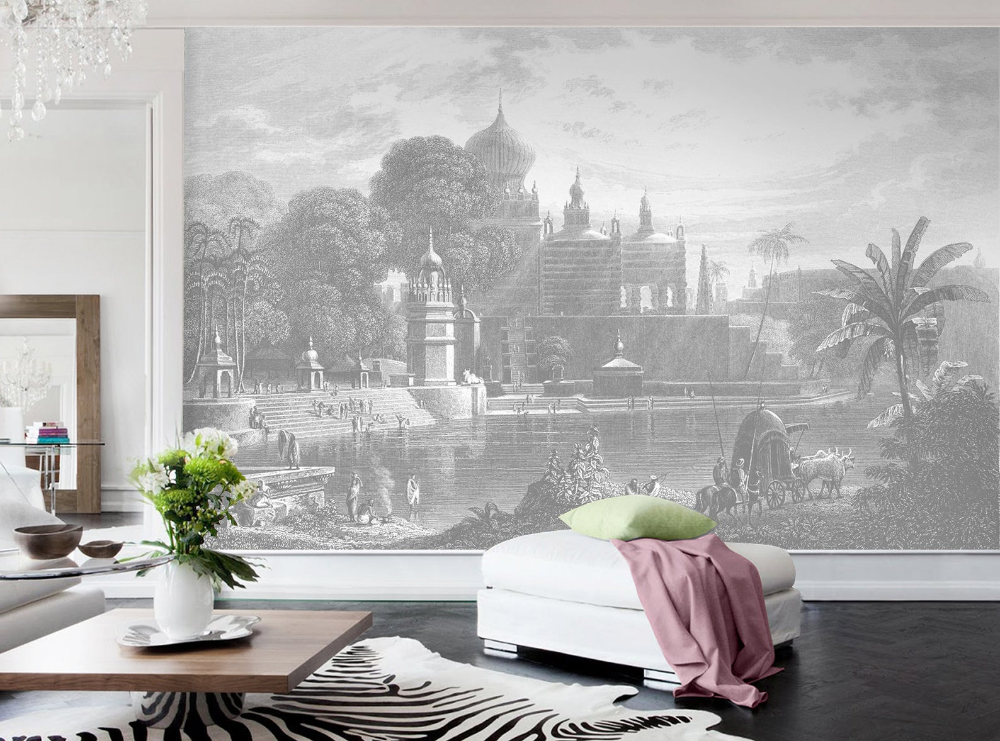 Palace View Removable Mural Wallpaper Peel And Stick Etsy Mural Wallpaper Moon Wall Decal Traditional Wallpaper