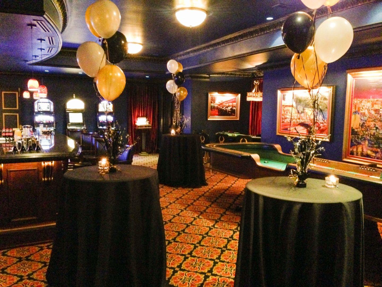 New Year's Eve Decor Ideas Casino Basement Black, Gold